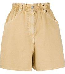 nude high waist denim shorts - neutrals