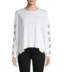 embrodered-star drop-shoulder pullover