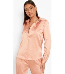 geweven baggy blouse met textuur, peach