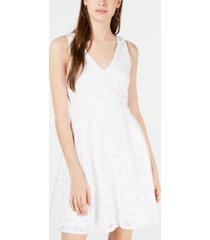 crystal doll juniors' laser cut lace fit & flare dress