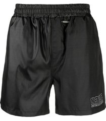 032c logo-embroidered swim shorts - black