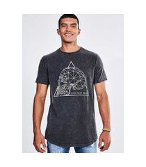 camiseta alongada caveira outline