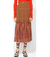 proenza schouler crepe chiffon tiered skirt tang/canary woven dot/yellow 10