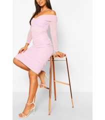 off the shoulder ruched mesh bodycon midi dress, lilac