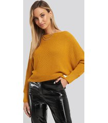 na-kd off shoulder knitted sweater - yellow
