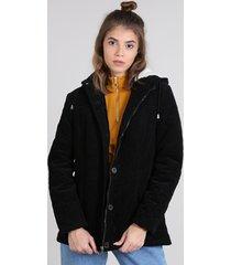 casaco feminino puffer em veludo cotelê com capuz com pelo preto