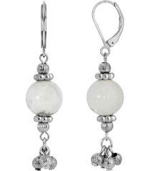 2028 silver-tone genuine stone howlite round drop earrings