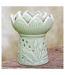 ceramic oil warmer, 'fragrant lotus' (thailand)