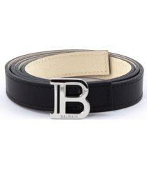 balmain black calfskin belt