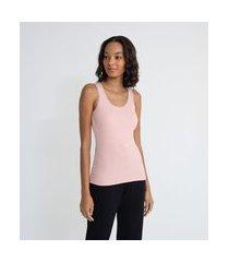 blusa de pijama em ribana sem mangas e com renda no decote | lov | rosa | p