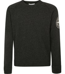 stone island side sleeve embroidered logo sweatshirt