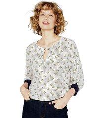 blusa estampada con detalles de jersey esprit