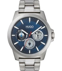 hugo men's chronograph #twist stainless steel bracelet watch 44mm