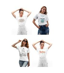 kit 4 camisetas femininas my t-shirt vintage motor branca