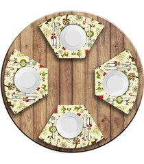 jogo americano   para mesa redonda wevans elementos natalinos  love decor