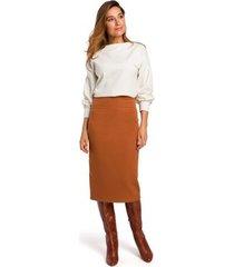 rok style s171 kokerrok met hoge taille - gember