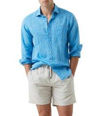 men's rodd & gunn seaford linen button-up shirt, size xx-large - blue