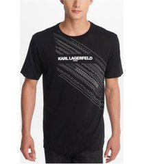 karl lagerfeld paris men's crew neck t-shirt with printed logo and emroidered details