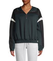 betsey johnson performance women's colorblock hoodie - kale - size xl