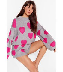 womens heart design sweater and shorts lounge set - grey