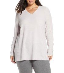 plus size women's eileen fisher v-neck wool tunic, size 3x - beige
