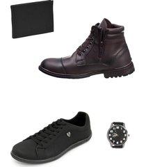 bota masculina chelsea e sapatenis com brindes selten - marrom/preto - masculino - couro sintã©tico - dafiti