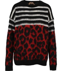 n21 striped and leopard motif sweater