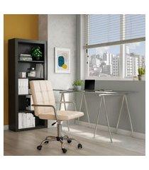 cadeira de escritório contabilidade giratória fitz bege