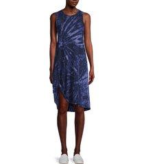 n:philanthropy women's tie-dyed cotton shift dress - black berry - size xs