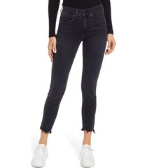 veronica beard women's emma frayed skinny jeans, size 25 in washed onyx at nordstrom