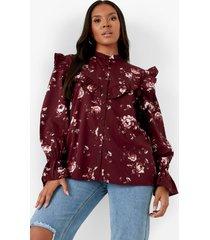 plus blouse met franjes, purple