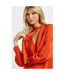 camisa de seda com faixa e fivela no pescoço laranja laranja pierre - 36