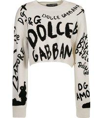 dolce & gabbana cropped logo paint sweater