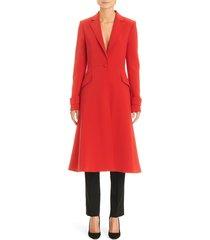 women's carolina herrera notched lapel a-line coat, size 8 - red