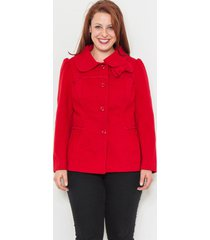 women peacoat solid red size 1xl 2xl 3xl front bow button down collared naranka