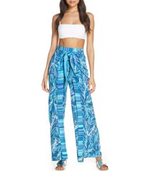 women's la blanca sketched leaves side slit cover-up pants