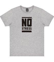camiseta estampa frontal logo no stress mescla - kanui