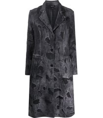 avant toi distressed single-breasted coat - grey