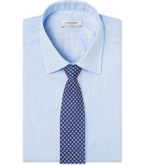 cravatta su misura, lanieri, padova seta blu bianco, quattro stagioni | lanieri