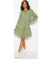 ditsy print tie neck smock dress, olive