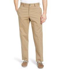 men's berle charleston flat front stretch canvas pants, size 42 - beige