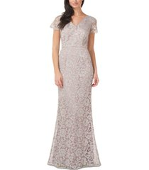 js collections metallic lace gown