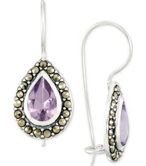 amethyst (2-3/4 ct. t.w.) & marcasite teardrop drop earrings in sterling silver