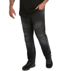 "mvp collections men's big and tall denim biker jean, 32"" inseam"