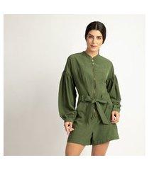 macaquinho vértice fashion com zíper verde