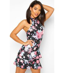 floral high neck double ruffle mini dress, black