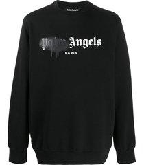 palm angels loose-fit logo-print sweatshirt - black