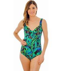 traje de baño  escote corazón hojas verdes  ac mare