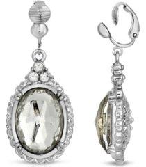 2028 silver-tone crystal oval drop earrings