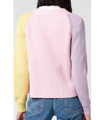 olivia rubin women's tally cropped cardigan - colourblock - l